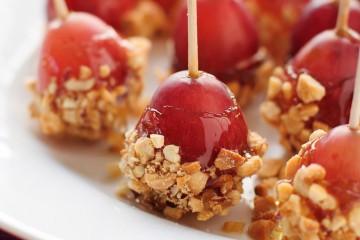 honey coated grapes