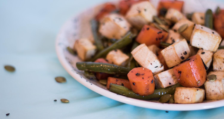 Baked Tofu with Veggies and Pepitas