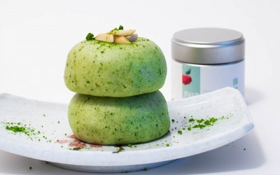 Matcha Mochi Cake with Red Beans