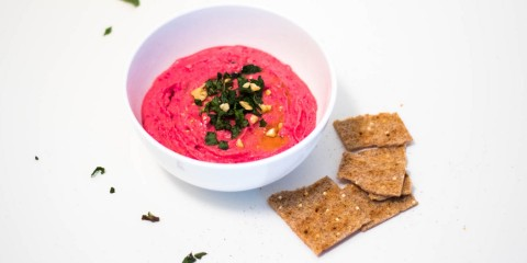 beet hummus with mint