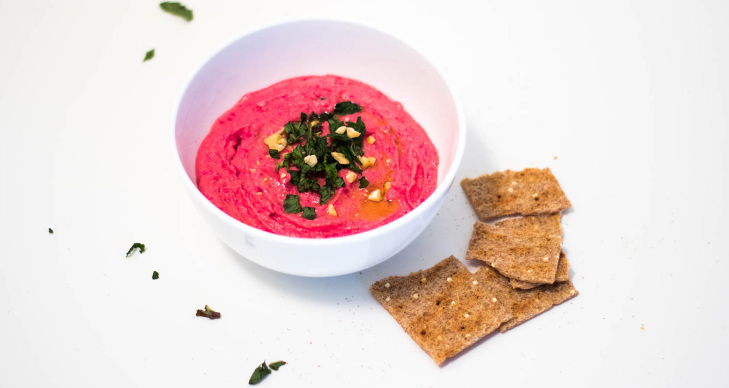 Beet Hummus with Fresh Mint