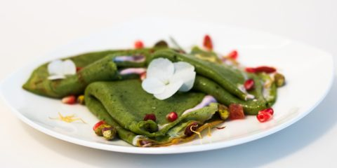 Matcha Crepes with Cherry